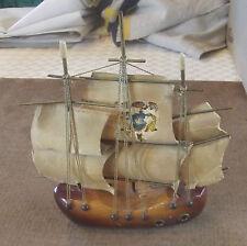 Ancien Souvenir de Vacance Navire Bateau Kitch Océan Mer Marin