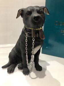 Sitting Walkies Black Staffy Staffordshire Bull Terrier Ornament Figurine Gift