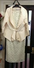 Cream dress jacket suit 18 beige wedding outfit cream mother of the bride NEW