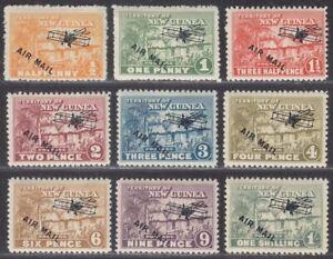 New Guinea 1931 KGV Native Village Airmail Overprint Set to 1sh Mint SG137-145