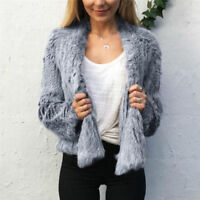 New Multiple Colors Women's Classic Jacket 100% Real Knitted Rabbit Fur Cardigan