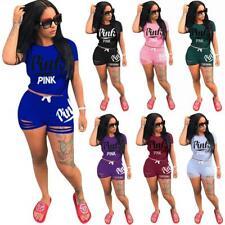 US 2PCS/Set Women Sports Suit Top Pants Outfit Yoga Workout Clothes Tracksuit