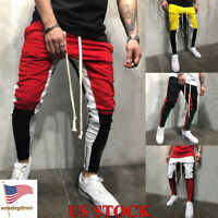 Mens Slim Fit Elastic Pants Running Joggers Tracksuit Casual Trousers Size M-2XL