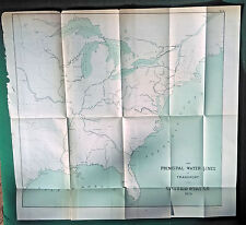 1876 Original Map Principal Lines of Water Transport in United States Nautical