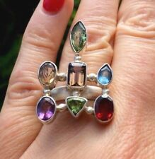 Sterling Silver Amethyst Three-Stone Fine Rings