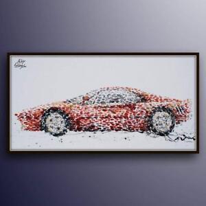 """Painting - 67"""" Ferrari Sport car, Luxury oil painting on canvas, handmade item"""