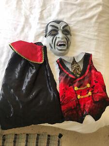 Kids Count Dracula Costume Vampire Halloween Fancy Dress  (Free T Shirt!!) 3-4