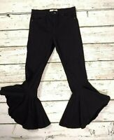 Topshop Jamie Flare Flamenco Frill Black Stretch Jeans W32 to fit L30 RARE