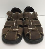 Buster Brown Boys Size 10M Brown Fisherman Sandals Closed Toe Easy Closure Shoes