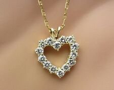 14K Yellow Gold Diamond Heart Necklace and chain 0.75 ct  small