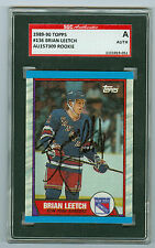 Brian Leetch Autographed 1989 Topps Rookie Card 136 Ranger SGC Authentic Encased