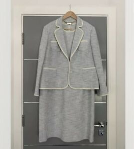 Hobbs Dress Suit in Pale Blue with White Trim Size 18