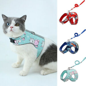 Pet Cat Puppy Vest Harness Collar Dog Chest Strap Leash Lead Traction Rope