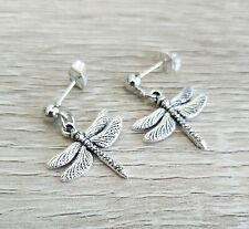 Silver Dragonfly Earrings Studs Dragonflies Post Ladies Gift Present