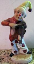 Clown Figurine Playing Violin Ceramic 5 inch