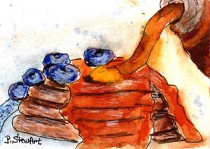 ACEO Maple Syrup blueberries butter pancakes WC & pen naive Art Penny StewArt