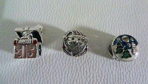 Set of Three Sterling Silver Pandora Christmas Charms