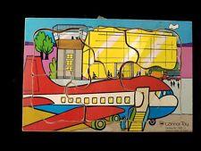 Vintage Wood Airplane Puzzle 6 Pieces Connor Toy Puzzle 7465-3 1970's