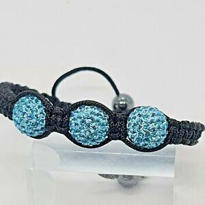 Lucet Mundi Ladies Turquoise Three Ball Crystal and Hematite Shamballa Bracelet
