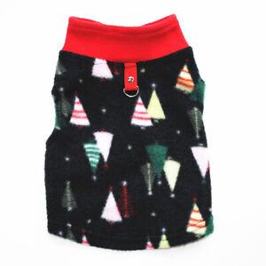 Dog Christmas T-shirt Puppy O Neck Vest Fleece Warm Traction Button Pet Clothes