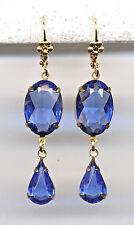 SAPPHIRE BLUE cut-crystal Teardrop Earrings 14K Gold gp Art Deco Drop *Vtg Czech