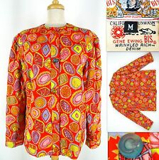 Vtg 80's Gene Ewing BIS Jacket Candy Print M Orange Multicolor Cotton Quilted