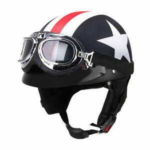 Half Open Face Motorcycle Helmet with Goggles Visor Scooter Helmet Durable M8Y5