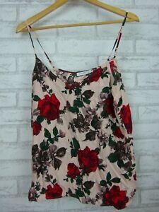 Equipment Femme Singlet top Sz M Pink, red, green floral print Silk