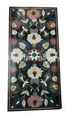 "18""x24"" Marble Black Coffee Table Top Mosaic Floral Inlay Stone Home Decor B711"