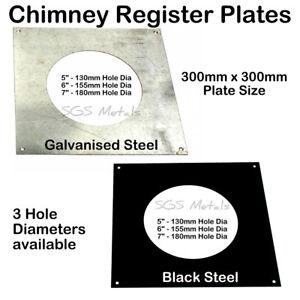 "Steel Chimney REGISTER PLATE 300 x 300 For 5"" 6"" & 7"" Flue Log Burner Stove"