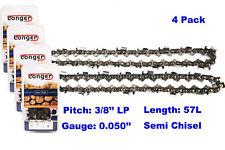 "16 Inch 3/8"" LP Pitch 0.050'' Gauge Semi Chisel Chainsaw Chain 57 Links (4PCS)"