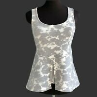 KIN Neoprene Peplum Top Floral Cream Gray Womens Size L Details about  /ANTHROPOLOGIE AKEMI