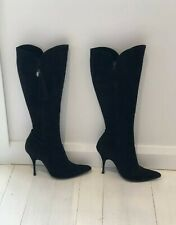 Givenchy Suede Leather Knee High Black Boots, 38, Pre-Owned