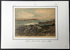 1877 Original Antique Lithograph Print View of New York City from New Jersey