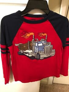 Gymboree red monster trucks boys medium 7/8 EUC