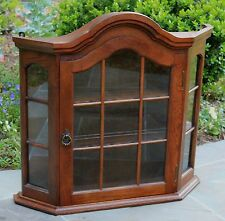 Antique French Country Oak Hanging Domed Wall Curio Cabinet Bonnet Top Vitrine
