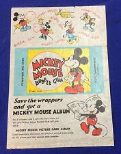 Original 1937 Walt Disney MICKEY MOUSE Bubble Gum Wrapper VG 4.0