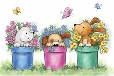 DOG Dogs In Flower Pots Clear Unmounted Rubber Stamp Wild Rose Studio CL515 New