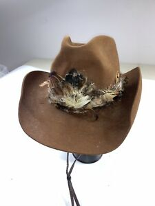 Vintage Stetson The Billy Kidd Cowboy Hat With Feathers Brown Men's
