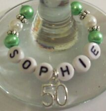 30th 40th 50th & 60th BIRTHDAY PERSONALISED WINE GLASS RINGS ALL NAMES & COLOURS