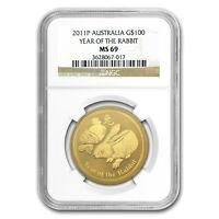 2011 1 oz Gold Lunar Year of the Rabbit MS-69 NGC (Series II) - SKU#70828