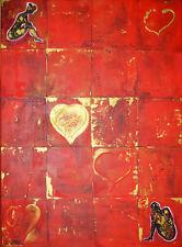 Malerei Acryl Bild Mann Frau Abstrakt Unikat Liebe Herz 60x80cm rot neu signiert