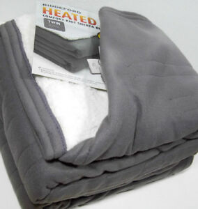 Biddeford Electric Heated Warming Comfort Knit Gray Sherpa Twin Blanket New