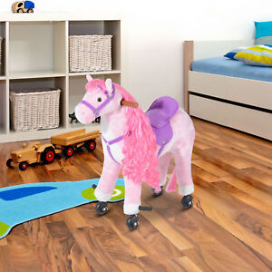 HOMCOM Child Mechanical Walking Ride on Horse Toy Plush Walk Pony Sound