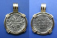 "Small ""1 Reale"" REPLICA Atocha Shipwreck Coin 14k Gold Pendant with Barrel Bail"