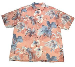 Tommy Bahama Mens Shirt Sz Large Coral Pink Floral Copyright 100% Silk