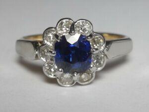 18CT YELLOW GOLD & PLATINUM SAPPHIRE & DIAMOND CUSHION CLUSTER RING C1910-20