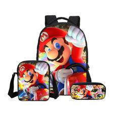 3PCS Set Super Mario Bros Kids Boys School Backpack Shoulder Bag Pencil Case Lot