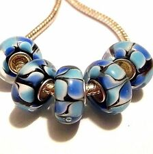 Lot of 5 EUROPEAN CHARM BEADS Lamp-work Single Core Blue, Black Lamp work Z16