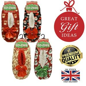 New Ladies Co-Zees Festive Reindeer Santa Christmas Gift Xmas Slippers UK 4-7
